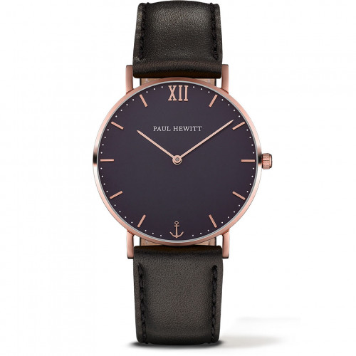Paul Hewitt Sailor Line Blue Lagoon Rose Gold Leather Black