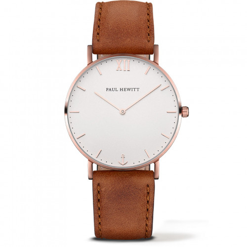 Paul Hewitt Sailor Line White Sand Rose Gold Leather Brown