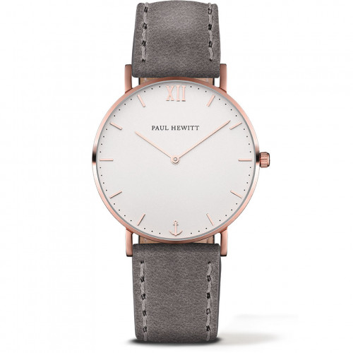 Paul Hewitt Sailor Line White Sand Rose Gold Leather Grey