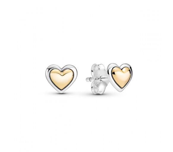 Pandora Domed Golden Heart Ohrstecker - 299389C00