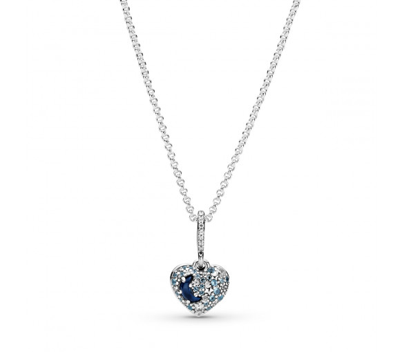 Pandora Sparkling Blue Moon & Stars Heart Halskette - 399232C01-50