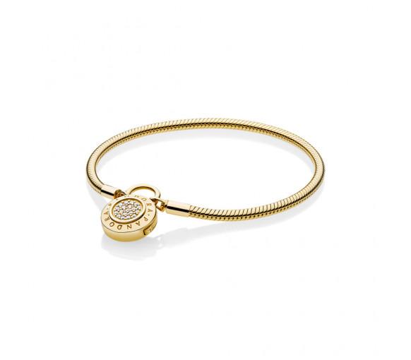 Pandora Shine Snake Chain Padlock Armband - 567757CZ