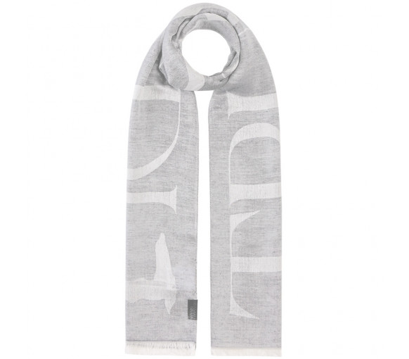 Trussardi Pashmina Macrologo Light Grey / White