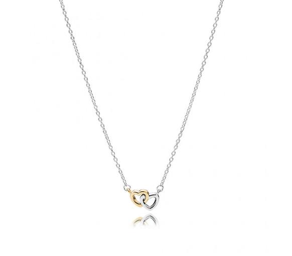 Pandora Halskette Verschlungenes Doppel-Herz - 590517-45