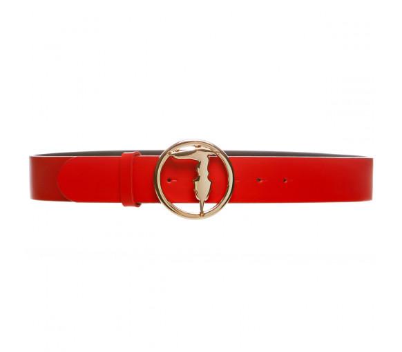 Trussardi Levriero Belt Red / Black