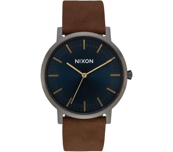 Nixon Porter Leather Gunmetal Indigo Brown - A1058-2984-00