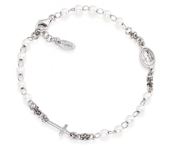 Amen Rosary Cross Pearls Armband - BROBB3