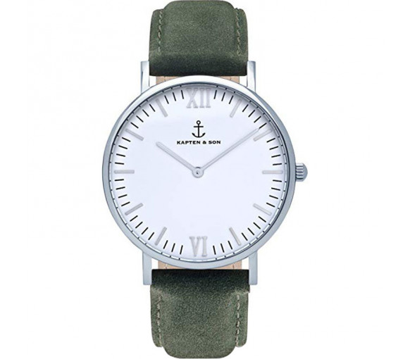Kapten & Son White Silver Pine Green Suede Leather