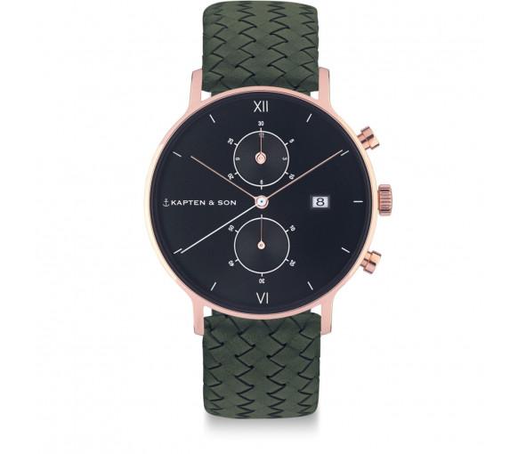 Kapten & Son Chrono Black Pine Green Woven Leather - CD00B1036F32A