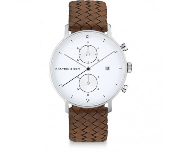 Kapten & Son Chrono Silver Brown Woven Leather (40 mm) - CD03A1003F12A