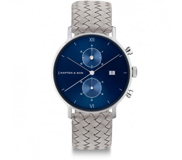 Kapten & Son Chrono Silver Blue Grey Woven Leather (40 mm) - CD03C1002F12A