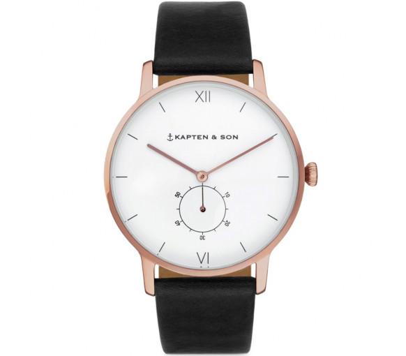 Kapten & Son Heritage Rose Gold Black Leather - CF00A0199F22A