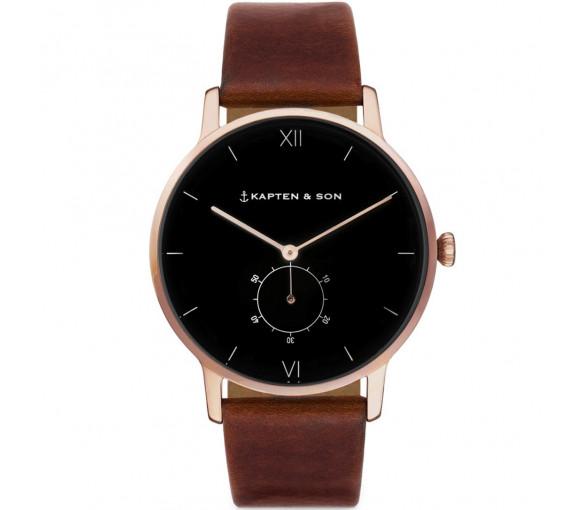 Kapten & Son Heritage Rose Gold Black Brown Leather - CF00B0103F22A