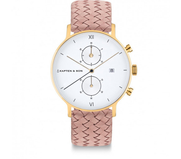 Kapten & Son Chrono Gold Rose Woven Leather