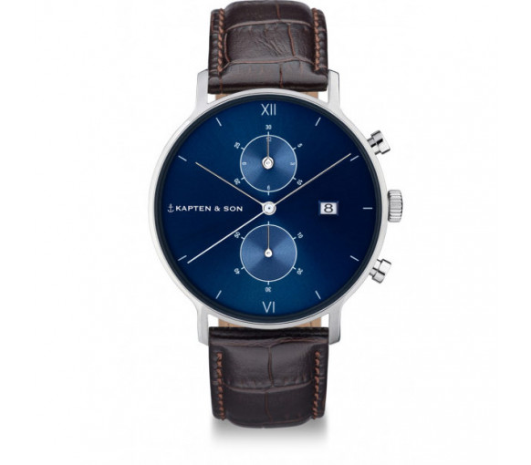 Kapten & Son Chrono Silver Blue Brown Croco Leather - CD03C0303F01A