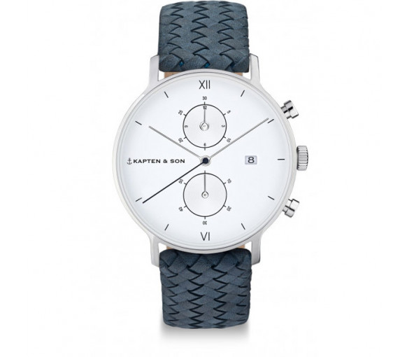 Kapten & Son Chrono Silver Light Blue Woven Leather - CD03A1008F01A
