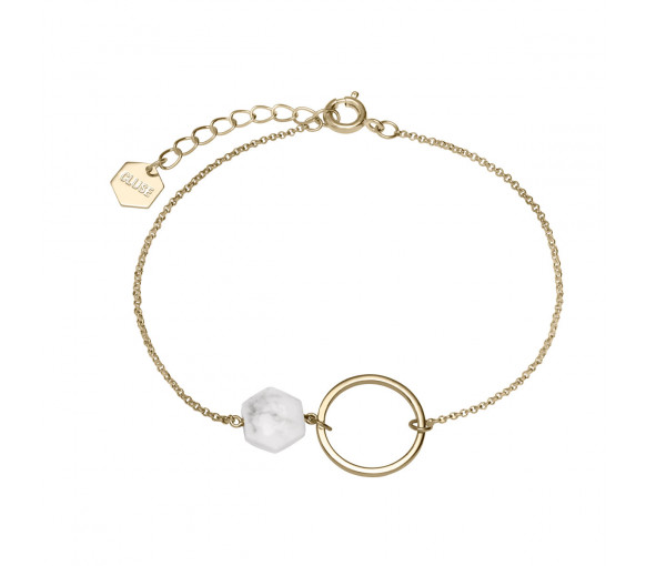 Cluse Idylle Gold Open Circle Marble Hexagon Chain Bracelet - CLJ11008