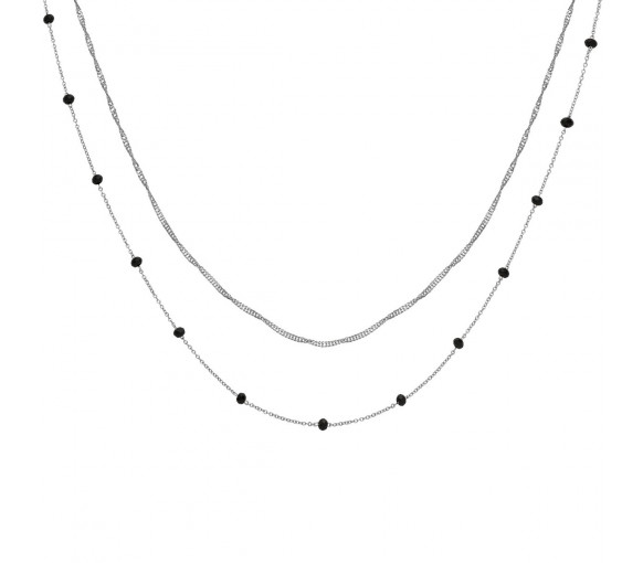 Cluse Essentielle Silver Set of Two Necklaces with Black Crystals - CLJ22007