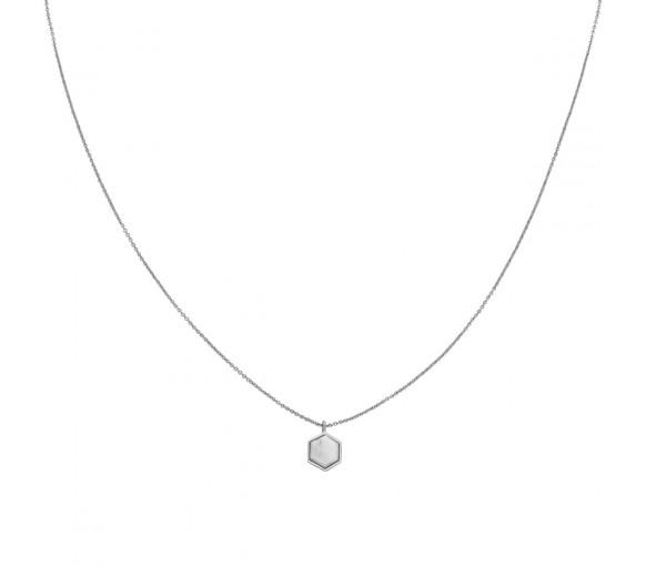Cluse Idylle Silver Marble Hexagon Pendant Necklace - CLJ22008