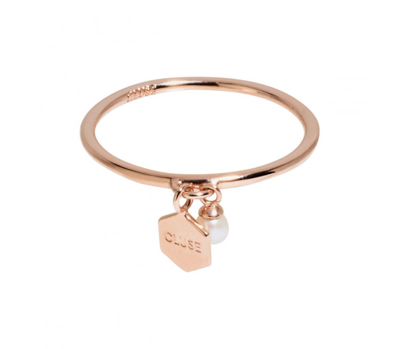 Cluse Essentielle Rose Gold Hexagon and Pearl Charm Ring - CLJ40007