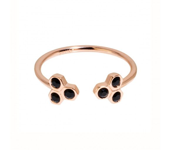 Cluse Essentielle Rose Gold Black Crystal Hexagons Open Ring - CLJ40008
