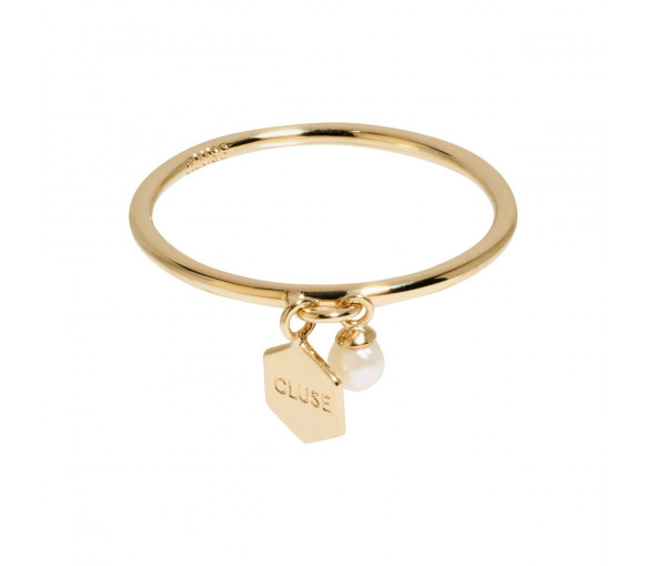 Cluse Essentielle Gold Hexagon and Pearl Charm Ring - CLJ41007