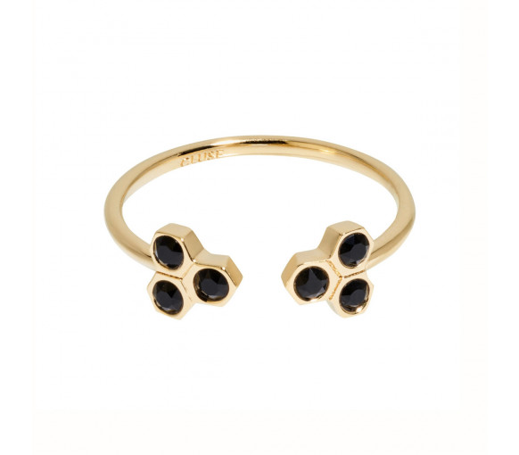 Cluse Essentielle Gold Black Crystal Hexagons Open Ring - CLJ41008