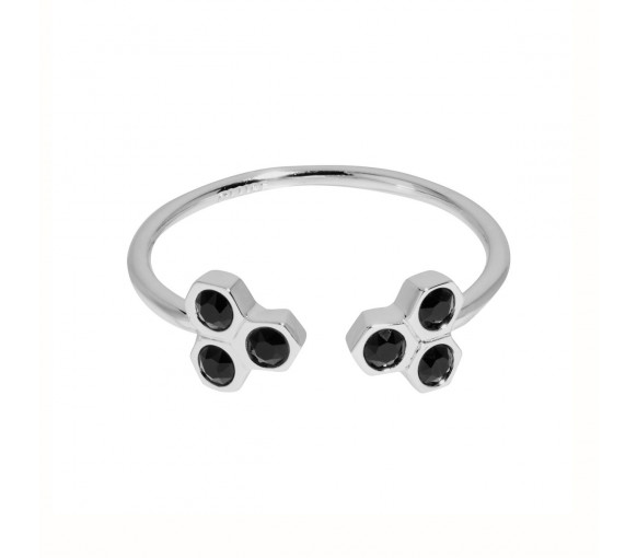 Cluse Essentielle Silver Black Crystal Hexagons Open Ring - CLJ42008