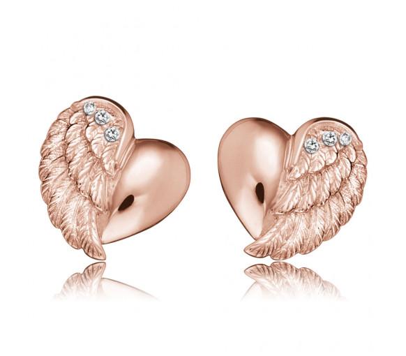 Engelsrufer Ohrstecker Herzflügel Rosé Gold - ERE-LILHEARTWING-STR