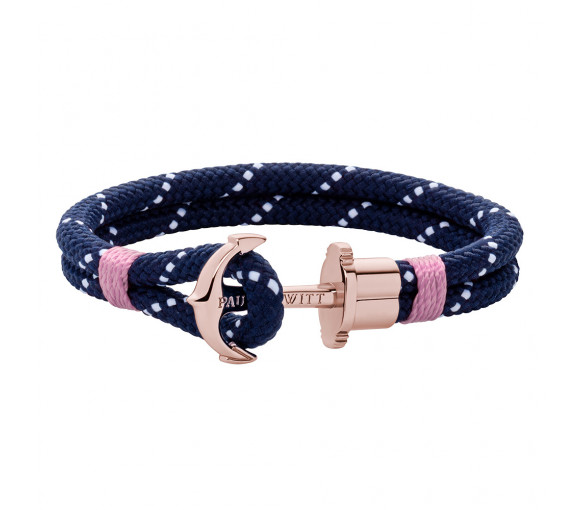 Paul Hewitt Anchor Bracelet Phrep Rose Gold Nylon Navy Blue White Light Pink