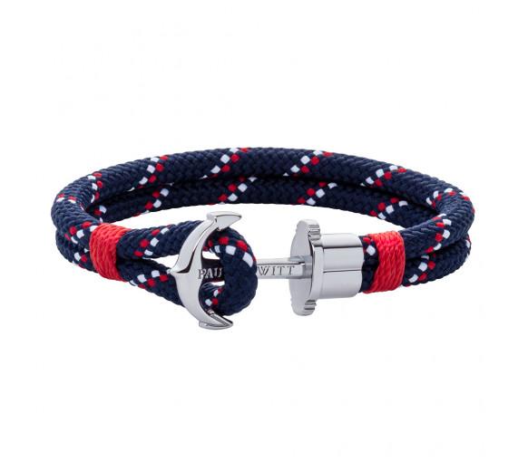 Paul Hewitt Anchor Bracelet Phrep Silver Nylon Navy Blue Red White