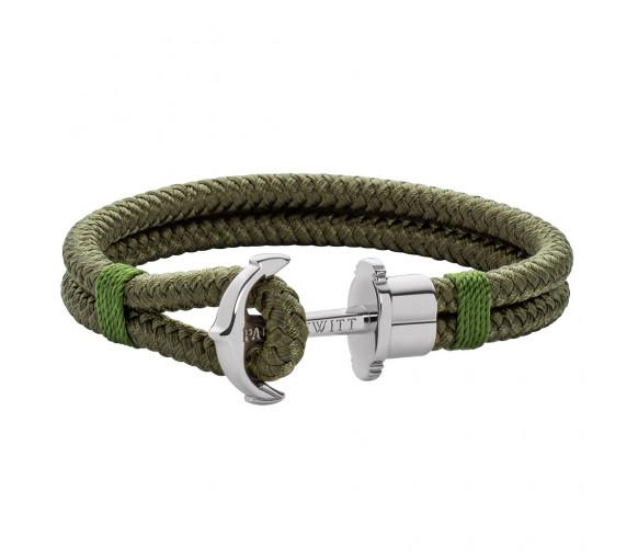 Paul Hewitt Anchor Bracelet Phrep Silver Nylon Olive