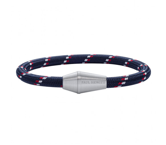 Paul Hewitt Bracelet Conic Silver Nylon Navy Blue Red White
