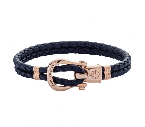 Paul Hewitt Phinity Shackle Bracelet Rose Gold Navy Blue - PH-FSH-L-R-N