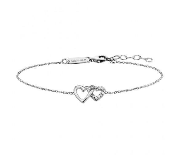 Julie Julsen Amore Armband 2 Herzen Silber - JJBR0263.1