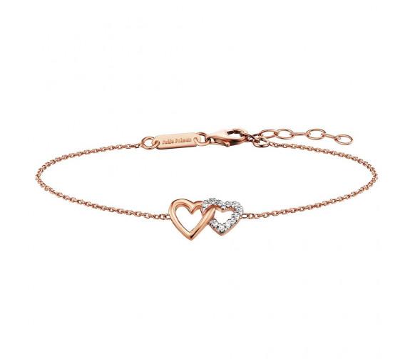 Julie Julsen Amore Armband 2 Herzen Rosé - JJBR0263.2