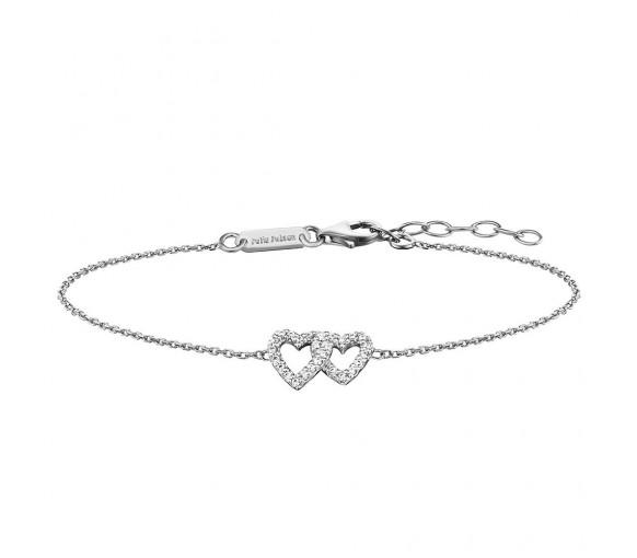 Julie Julsen Amore Armband 2 Herzen Silber - JJBR0264.1
