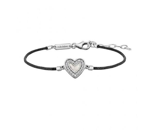 Julie Julsen Amore Armband Schwarz Herz Silber - JJBR0321.1