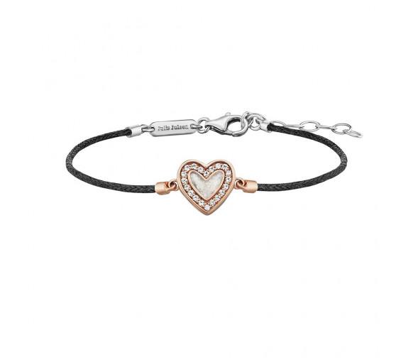 Julie Julsen Amore Armband Schwarz Herz Rosé - JJBR0321.2