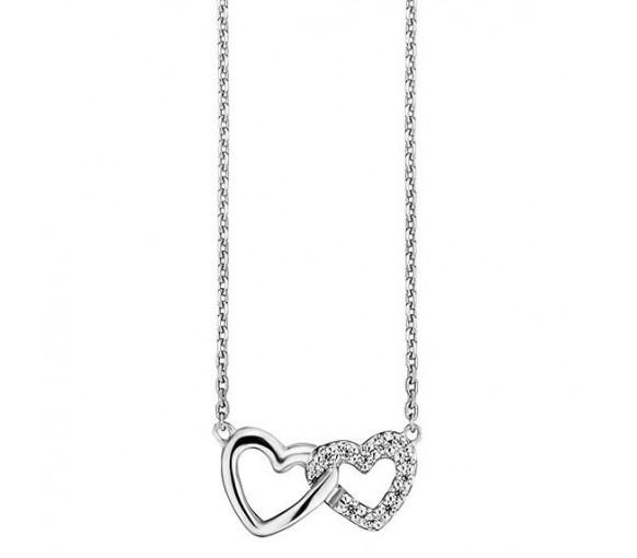 Julie Julsen Amore Halskette 2 Herzen Silber - JJNE0260.1