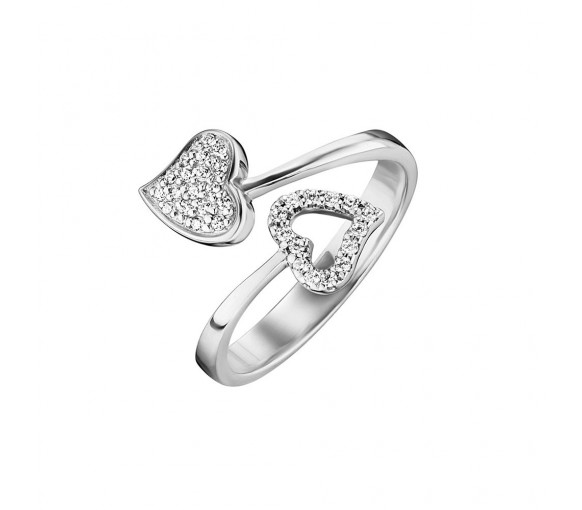 Julie Julsen Amore Ring 2 Herzen Silber - JJRG0272.1