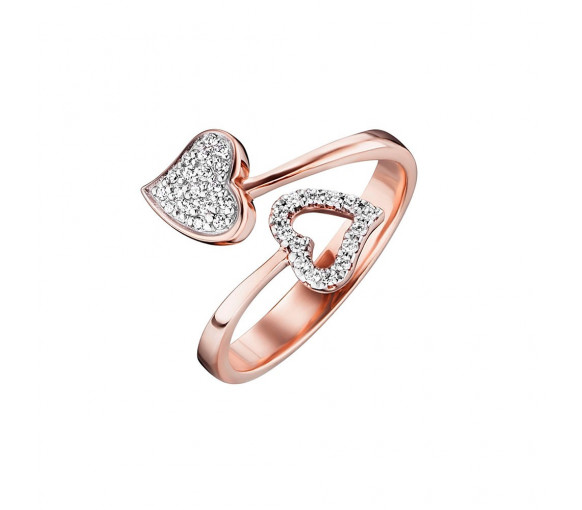 Julie Julsen Amore Ring 2 Herzen Rosé - JJRG0272.2