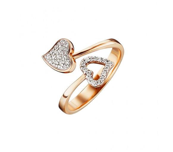 Julie Julsen Amore Ring 2 Herzen Gold - JJRG0272.3