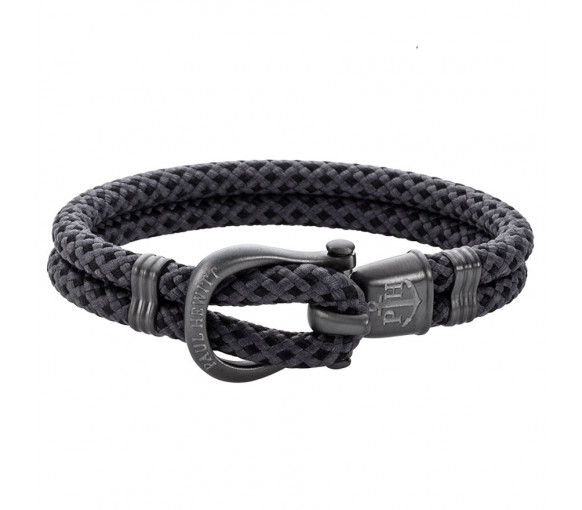 Paul Hewitt Phinity Shackle Bracelet Gun Metal Nylon Black Grey - PH-SH-N-GM-BG