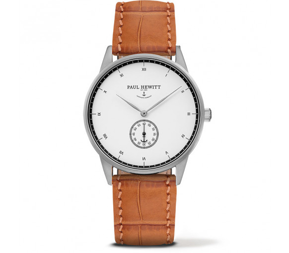 Paul Hewitt Signature Line White Ocean Silver Leather Embossed Light Brown - PH-M1-S-W-16