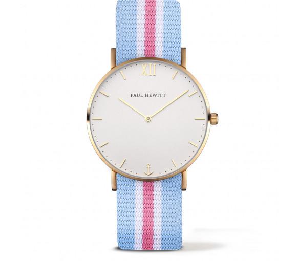 Paul Hewitt Sailor Line White Sand Gold Nato Strap Light Blue-White-Light Pink