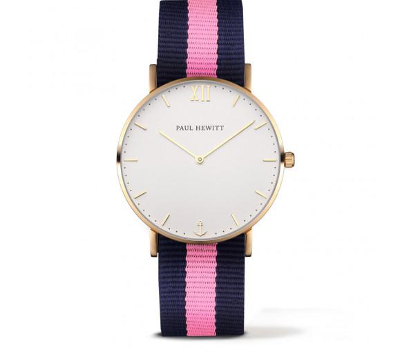 Paul Hewitt Sailor Line White Sand Gold Nato Strap Navy Blue-Light Pink