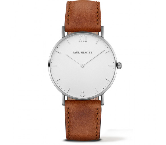 Paul Hewitt Sailor Line White Sand Silver Leather Brown