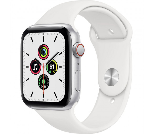 Apple Watch Series SE Cellular Silver White Sport Band