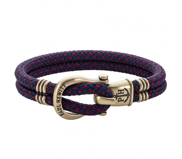 Paul Hewitt Phinity Shackle Bracelet Brass Nylon Navy Blue Red - PH-SH-N-M-NR